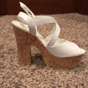 White cork heels